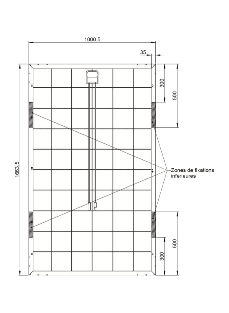 Dimensions of the Systovi V-SYS Pro 330Wc solar panel