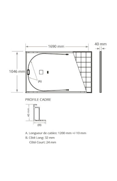 Dimensions of the Sunpower Maxeon 3-400 WC